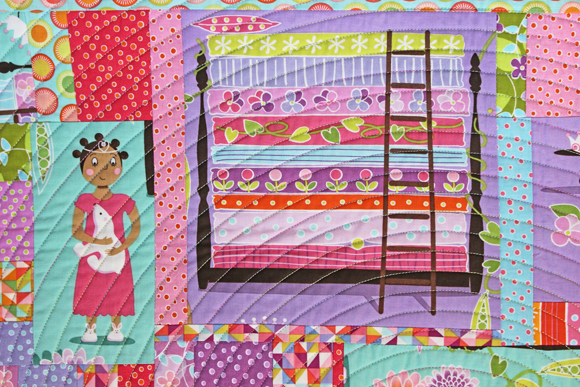 princess & the pea wallhanging detail