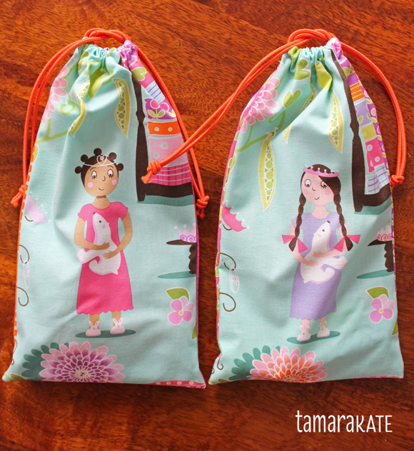 princess & the pea fabric loot bags
