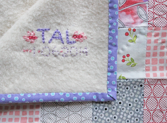 tamara kate - heart baby quilt embroidery