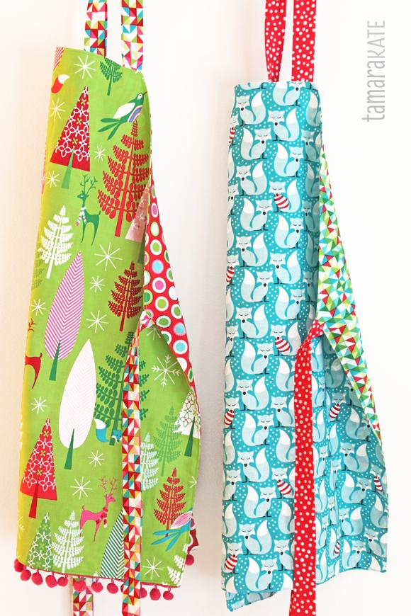 festive forest aprons - tamara kate